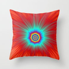 Turquoise Explosion  on Red  Throw Pillow