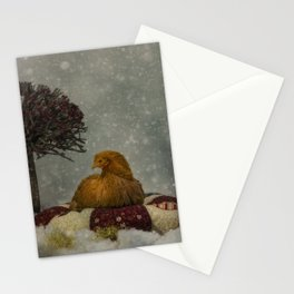 Christams winter chicken  Stationery Cards