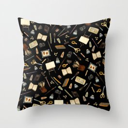 Creative Artist Tools - Watercolor on Black Throw Pillow