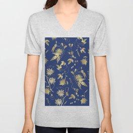 Elegant Gold Blue Passiflora Pattern Unisex V-Neck