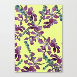 watercolor pink orchid on yellow background Canvas Print