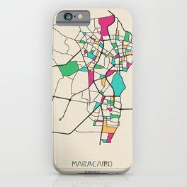Colorful City Maps: Maracaibo, Venezuela iPhone Case