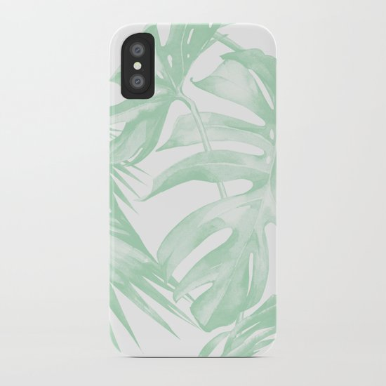 Light Green Tropical Palm Leaves Print by followmeinstead