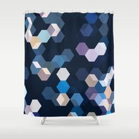 honeycomb Shower Curtains featuring HONEYCOMB by ED design for fun