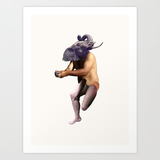 Bathing Elephant Art Print