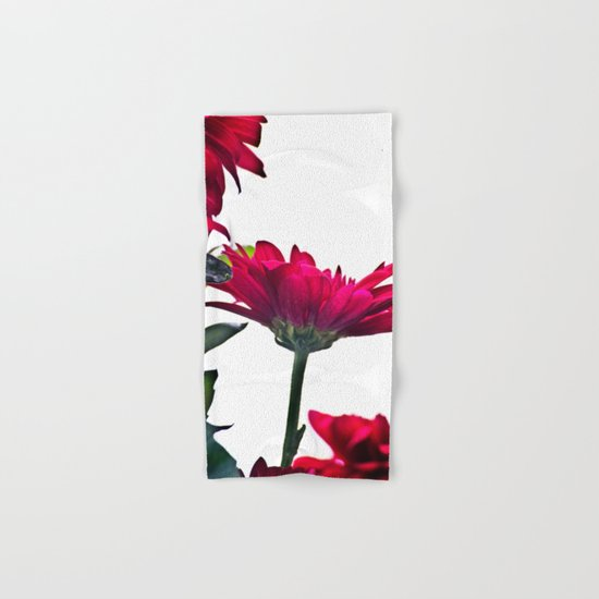 Red Chrysanthemum Flowers Hand & Bath Towel