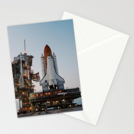 930. Just before sunset, Space Shuttle Discovery arrives on the hardstand of Launch Pad 39B at NASA's Kennedy Space Center Stationery Cards