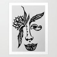 Leaf Eyed Girl Art Print
