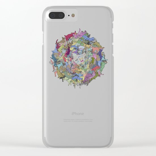 Cats Donut Galaxy - Rainbow Earth Clear iPhone Case