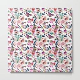 Hand painted blush pink purple watercolor floral Metal Print