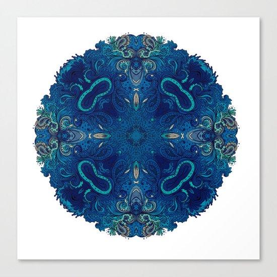 Blue Cobalt Indian Mandala Canvas Print