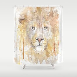 """Watercolor Painting of Picture """"African Lion"""" Shower Curtain"""