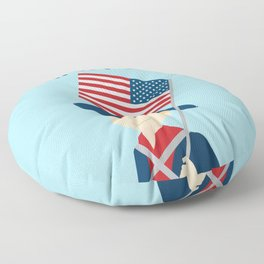 US flag held high for those who died - Patriot Day - September 11 Floor Pillow