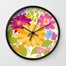 Bold Flowers Wall Clock