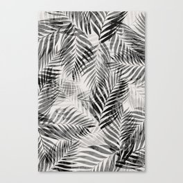 Palm Leaves - Black & White Canvas Print