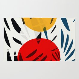 Yellow and Red Abstract Art Graphic Design Rug