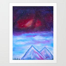 Galaxy merging Sky Art Print