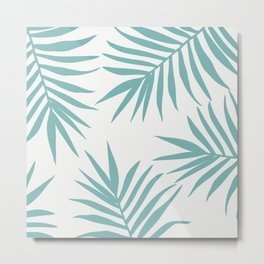 Delicate Green Tropical Leaves Pattern Metal Print