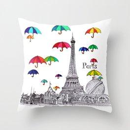 Travel with Umbrella Throw Pillow
