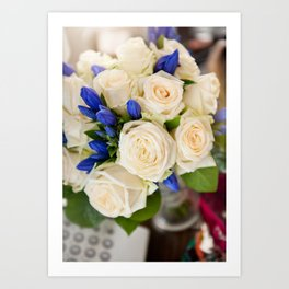 Ecru roses wedding bouquet Art Print