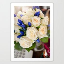 Ecru roses wedding bouquet Art Print