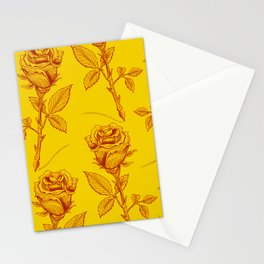 Yellow Roses pattern Stationery Cards