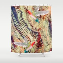 hummingbirds marble Shower Curtain