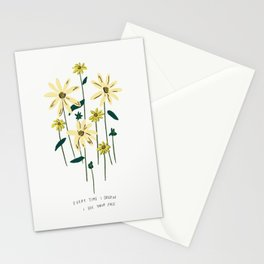 Every Time I Dream I See Your Face Yellow Floral Bouquet Illustration Lyrics Stationery Cards