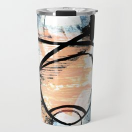 It comes and goes - a black and white abstract mixed media piece with pink details Travel Mug