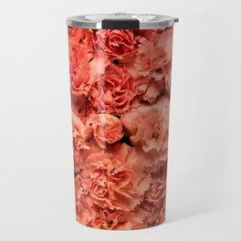 Coral Carnations Travel Mug
