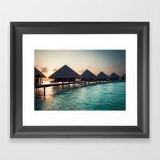 waterbungalows at sunset Framed Art Print