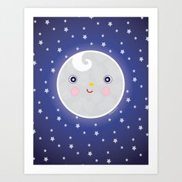 Happy Moon Man Art Print