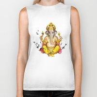 ganesha Biker Tanks featuring Ganesha by O. Be