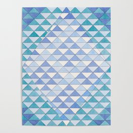 Triangle Pattern No. 9 Shifting Blue and Turquoise Poster