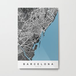Barcelona Map - Spain | Color Black and Blue Metal Print