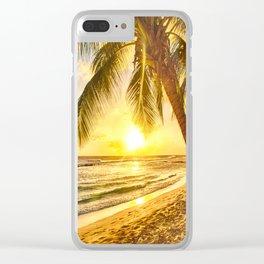 Beach - Palm Trees - Ocean - Shore - Sand - Nature - Sun Clear iPhone Case