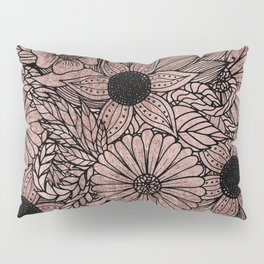 Floral Rose Gold Flowers and Leaves Drawing Black Pillow Sham