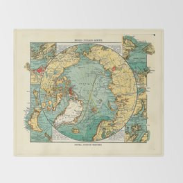 Map of the Arctic Ocean (1906) Throw Blanket