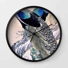 Imao Keinen - Top Quality Art - Peacocks in Spring Wall Clock