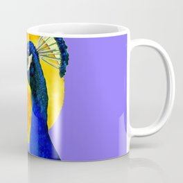 BLUE PEACOCK  FULL MOON ART ABSTRACT Coffee Mug