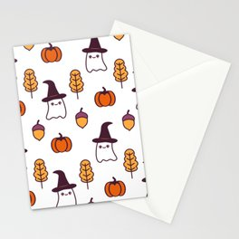 cute cartoon halloween pattern background with ghosts, pumpkins, leaves and acorns Stationery Cards
