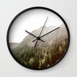 Pine Covered Mountain Fog Wall Clock