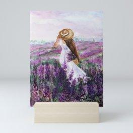 in a field of lavender Mini Art Print