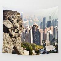 hong kong Wall Tapestries featuring Hong Kong by amberino