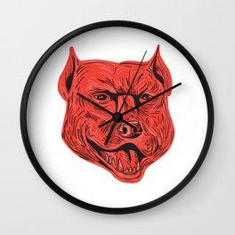 Pitbull Dog Mongrel Head Drawing Wall Clock
