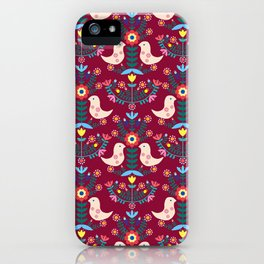 Folk Birds Red iPhone Case