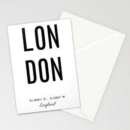 London - England Coordinates Stationery Cards