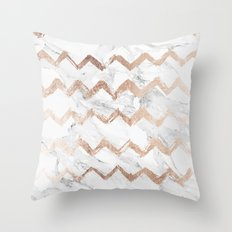 Chic faux rose gold chevron white marble pattern Throw Pillow