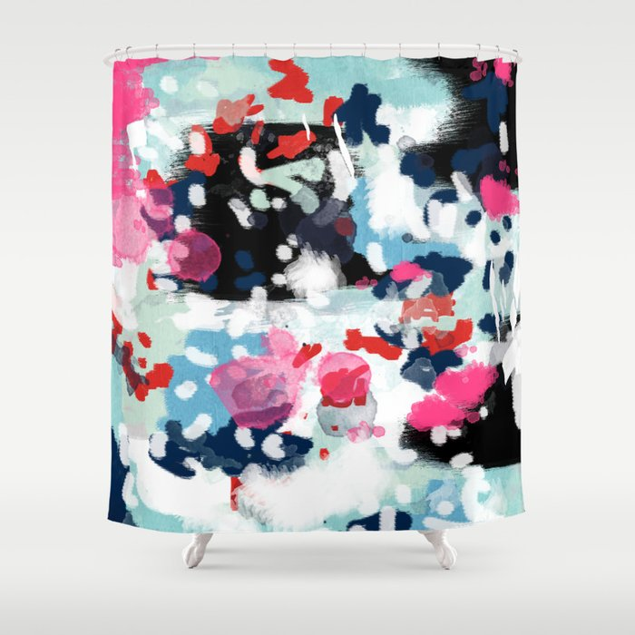Aubrey - Abstract painting in bright colors pink navy white gold Shower Curtain