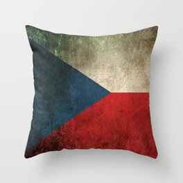Old and Worn Distressed Vintage Flag of Czech Republic Throw Pillow